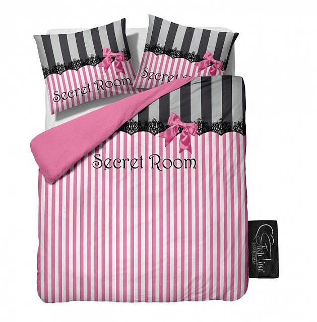 secret room rosa grau 4tlg microfaser bettw sche garnitur. Black Bedroom Furniture Sets. Home Design Ideas
