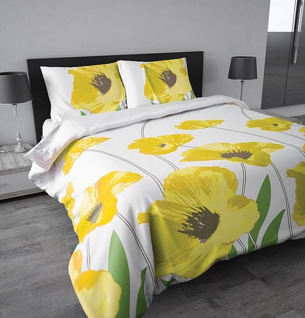 amapola mohnblumen gelb wei 3tlg microfaser bettw sche 200x220 60x70cm neu ebay. Black Bedroom Furniture Sets. Home Design Ideas