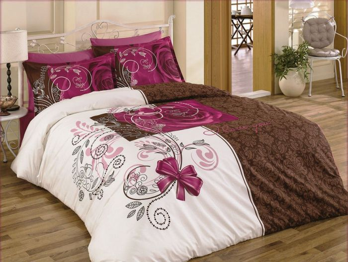 ROSE Love You Braun-Weiss Luxus Bettw�sche 200x220cm 4Tlg