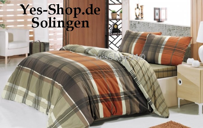 VERTICAL Stripe Braun-Beige Luxus Bettw�sche 135x200cm 6Tlg