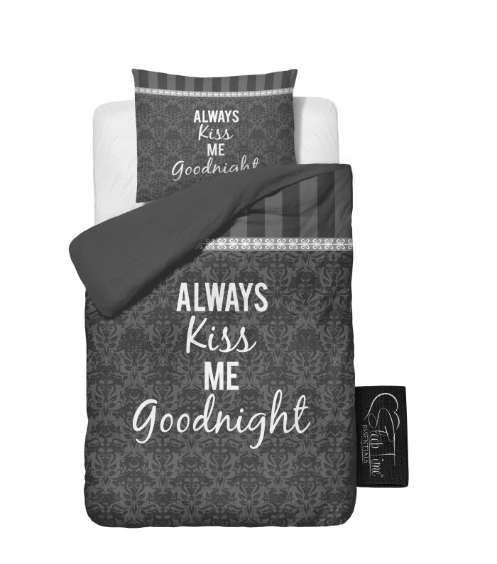 ALWAYS KISS ME Grau Microfaser Bettw�sche 135x200cm 4Tlg