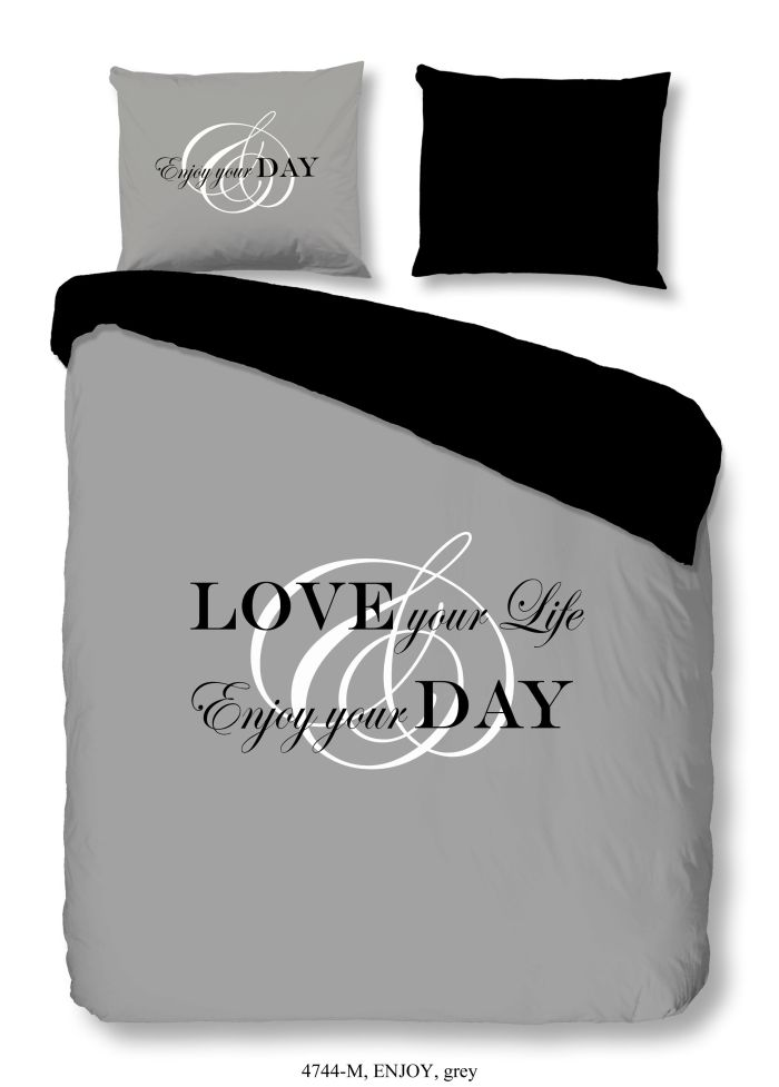 Enjoy Love Day Grau Microfaser Bettw�sche 135x200cm 4Tlg