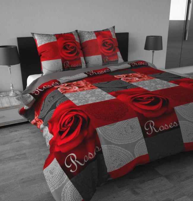 garden rosen rot grau 3tlg microfaser bettw sche garnitur 200x200 80x80cm neu ebay. Black Bedroom Furniture Sets. Home Design Ideas