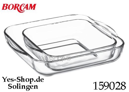 BORCAM 2 Tlg. Auflaufform/Tablet Eckig 28x28+22x22 cm 159028