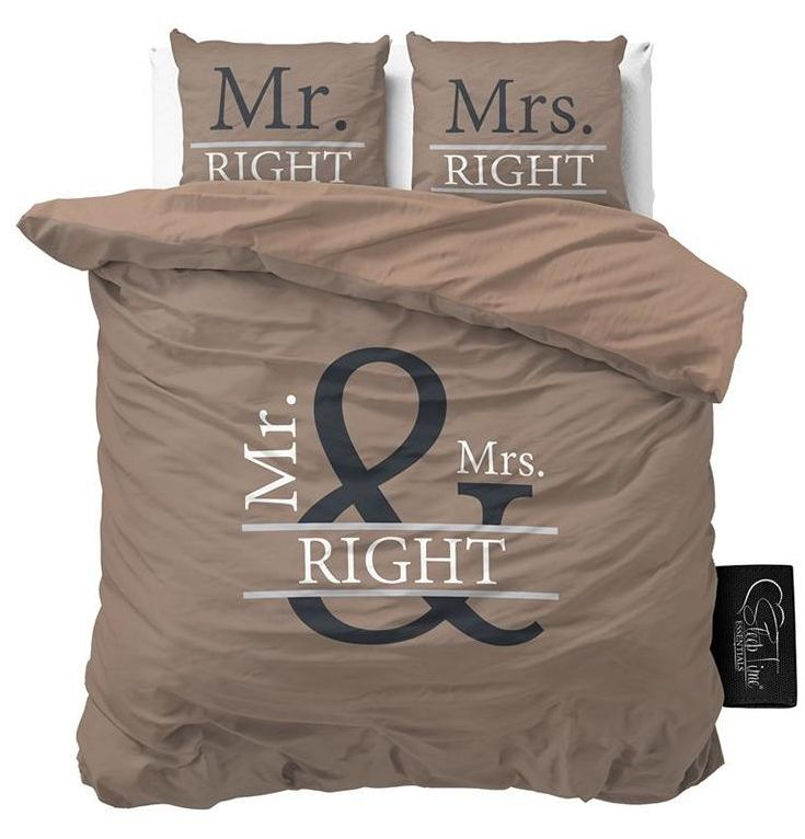 Mr&Mrs Right II Braun Microfaser Bettwäsche 200x200cm 3Tlg
